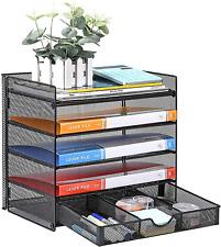 Veesun Paper Letter Tray Organizer Mesh Desk File Organizer With A Sliding Draw
