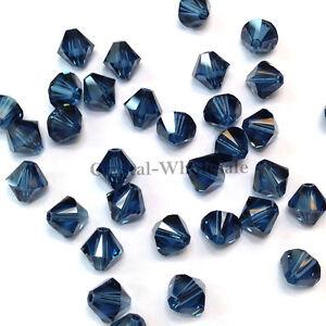 4mm Montana (207) Genuine Swarovski crystal 5328 / 5301 Loose Bicone Beads