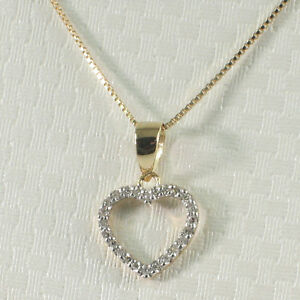 Beautiful-amp-Love-Heart-14k-Solid-Yellow-Gold-Diamond-Pendant-Necklace-TPJ