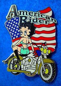 BETTY-BOOP-AMERICAN-RIDER-2003-PATRIOTIC-GIRL-USA-FLAG-OLIVE-MOTORCYCLE-BIKE-PIN