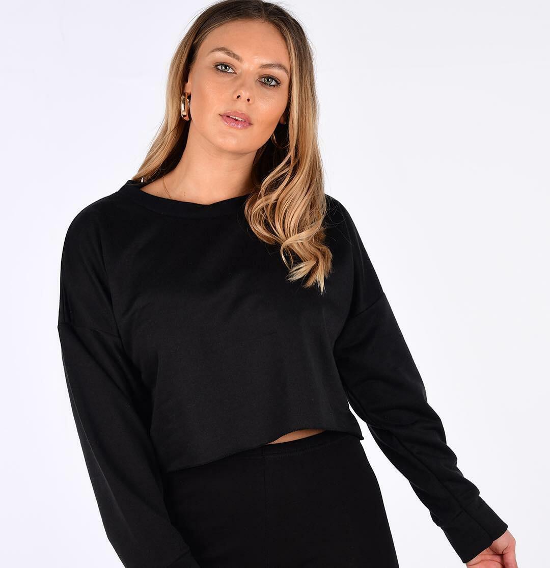 New Ladies Womens Raw Edge Hem Long Sleeve Cropped Jumper UK Sizes S//M  M//L