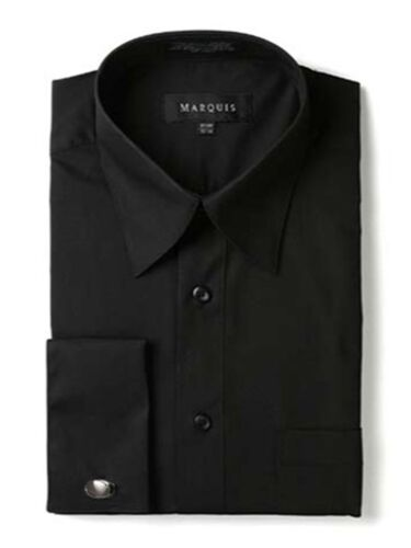 Cufflinks Included Marquis Men/'s Regular Fit French Cuff Dress Shirt