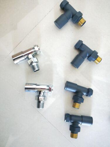 Modern Angled Heated Towel Rail Radiator Valves Anthracite Manual Bathroom 15mm