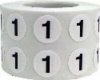 White With Black Number Stickers, 1/2 Inch Round, 1000 Total, Choose From 0-12