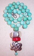 Vintage Simon Sebbag Sterling Silver Coral Pendant Turquoise Bead Necklace