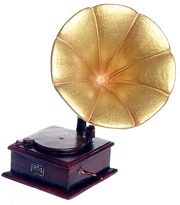 Dollhouse Miniature Victorian Gramophone Vintage Record Player 1//12th Scale
