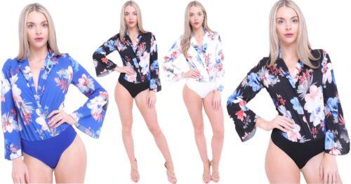 Floral Leotard Collared Botanical Print Bodysuit Wrap Plunge Contrast NEW Womens