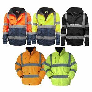 Coats & Jackets Business & Industrial Mens Hi Viz High Visibility Bomber Safety Work Black Hooded Jacket Coat All Size