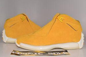 innovative design 9f2bc 98fd5 Image is loading Nike-Air-Jordan-18-Retro-Yellow-Ochre-Style-