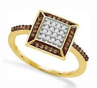 Great Look 100% 10k Yellow Gold Chocolate Brown & White Diamond Ring .25ct