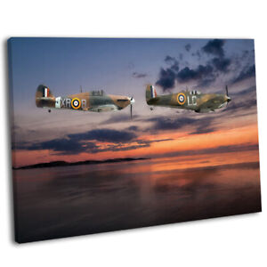 Spitfire /& Hurricane Flying Over Poppy Field Picture Framed Canvas Art Print