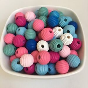 25X-Beehive-Style-Wood-Beads-14mm-Round-Wooden-Macrame-Craft-Pastel-Colour-Bead