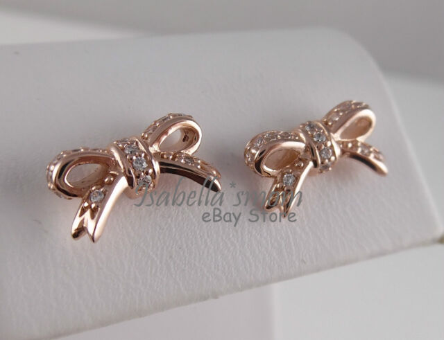 7046c6d3a PANDORA Sparkling Bow Stud Earrings Rose Gold and Clear CZ 280555CZ for sale  online | eBay