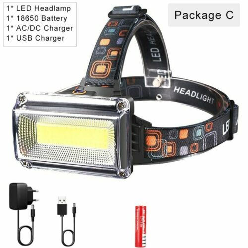 3000LM Powerful COB LED Headlamp DC Rechargeable Headlight Torch Fishing Lamp
