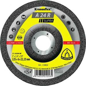 PKT10-GRINDING-DISC-125x6x22mm-Klingspor-A24R-Supra-Grinding-Disc-1200RPM
