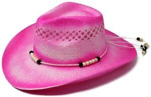 2b0d257ee92f5 Women s Pink Straw Beaded Western Cowgirl Straw Summer Beach Hat