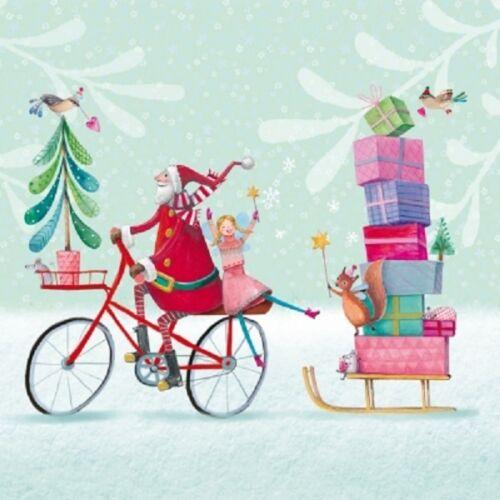 4 Lunch Paper Napkins for Decoupage Craft Vintage Napkin Art Santa /& Bike