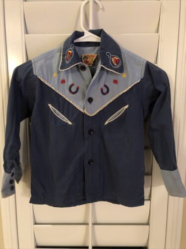 Original 1950's Roy Rogers Frontier Shirt Blue Rob