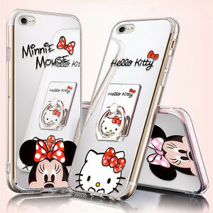 For-iPhone-X-8-7-6-S8-S9-Mirror-Mickey-Minnie-Mouse-KT-Case-Ring-Holder-Cover