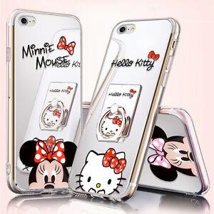 7194d8ac4 Mirror Cartoon Mickey Minnie Case Fr iPhone Xs Max X 8 S9 Cute Ring ...