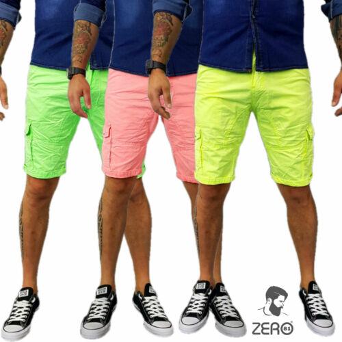 Pantaloncino Shorts Fluo Verde,Giallo,Rosa Jeans Uomo Tasche Italy Corto Bermuda