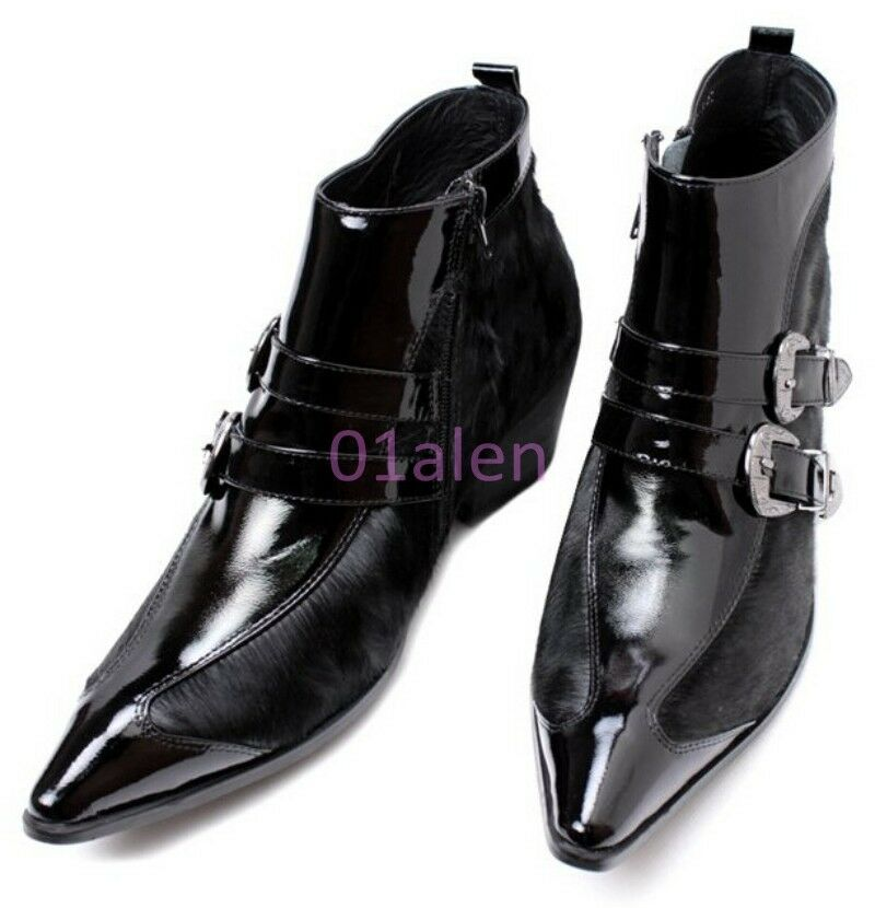New Mens Pointy Toe Leather Buckle Formal Dress Ankle Boot Chic Shoes Punk Rock