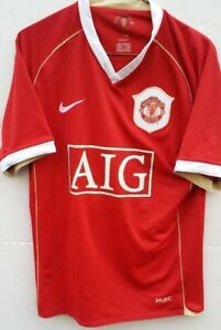 buy popular 8c1ca 142b2 Details about Nike MUFC Manchester United Football Club Jersey AIG Red Size  S