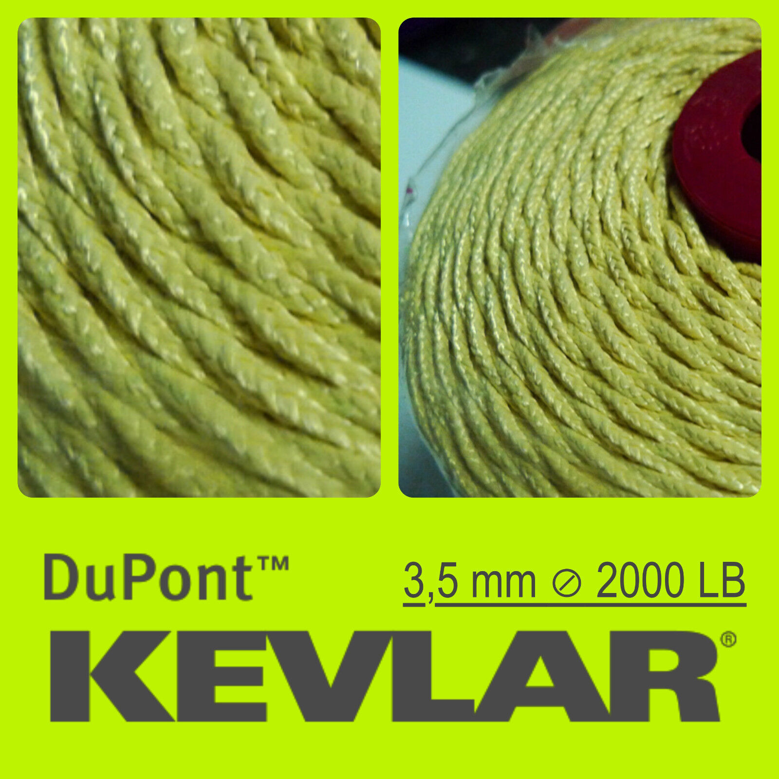 100% KEVLAR DuPont TRIP LINE CORD BRAIDED WIRE LINE CORD LINE FOR KITE FISHING PAINTBALL b7a7a1