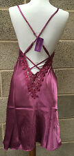 NEW Satin Negligee Nightie Berry Pink Deep Low Lace Back Adjustable Straps UK 8