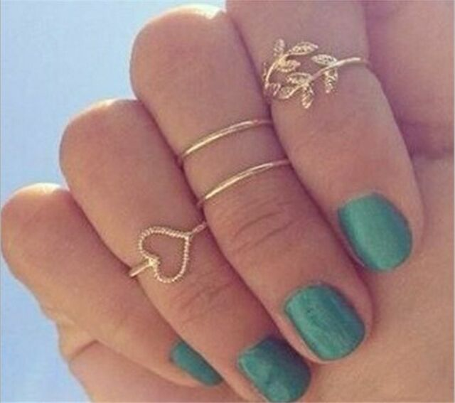 Vintage 4PCS Gold Plated Crystal Plain Above Knuckle Ring Urban band Midi Ring