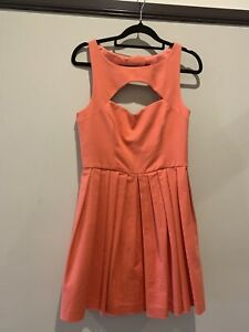 FOREVER-NEW-Cotton-A-Line-Dress-Size-10-Apricot-cut-out-detail-at-back