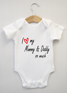5a3961fa42 I love my Mummy   Daddy Mum Dad Baby Grow Bodysuit Vest Top Babygrow ...