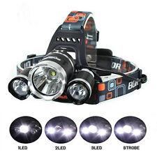 8000lm CREE XM-L T6 3x LED Scheinwerfer Taschenlampe Kopflampe Stirnlampe Neu