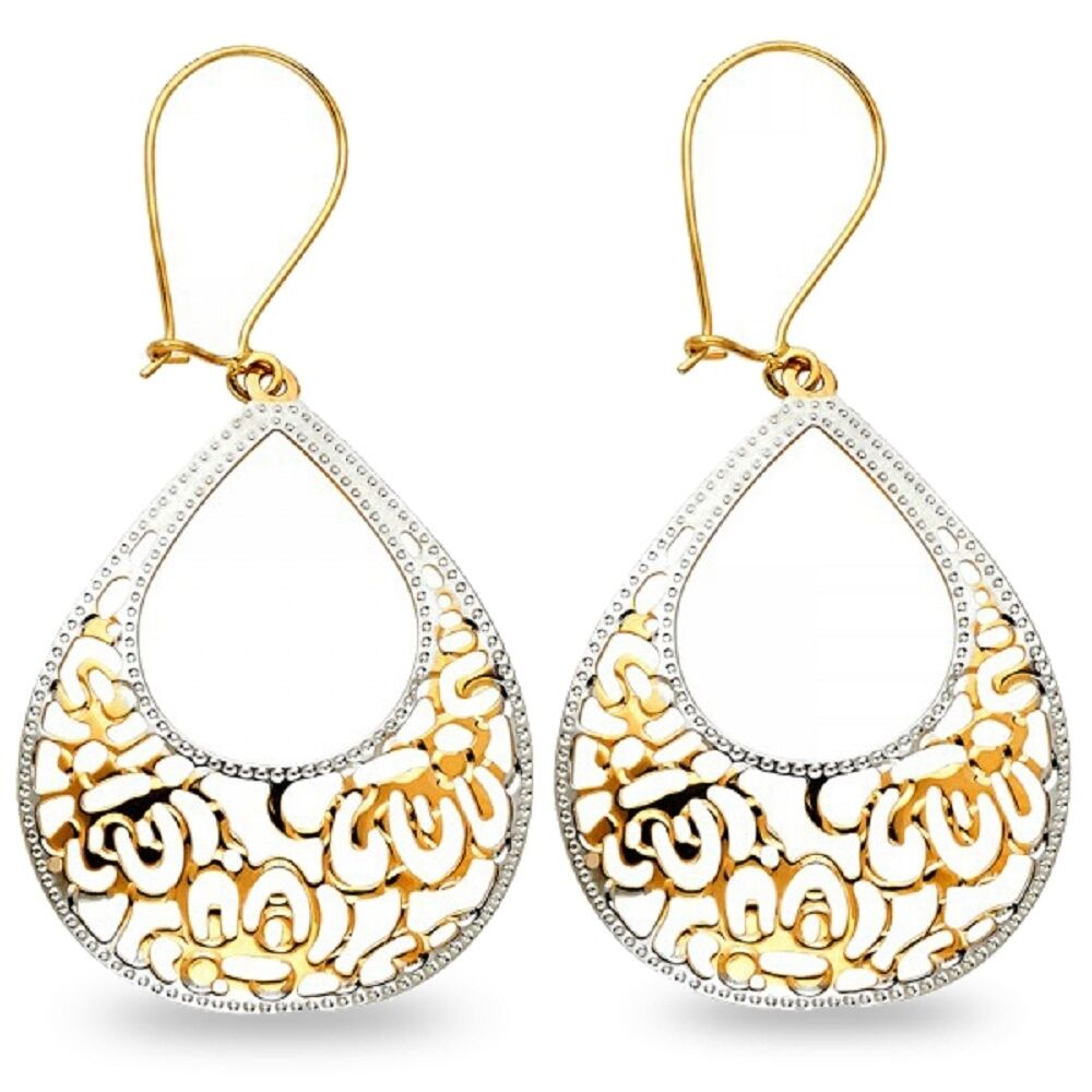Teardrop Dangle Earrings Solid 14k Yellow & White gold Diamond Cut Two Tone