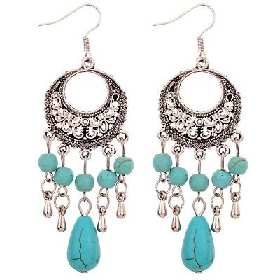Tibetan Silver Turquoise Bead Owl Pendant Hook Drop Earrings Party Women Jewelry