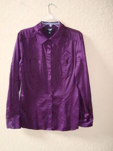 Purple Black Top Blouse Shirt Womens Button New Large Como qAxfTSq