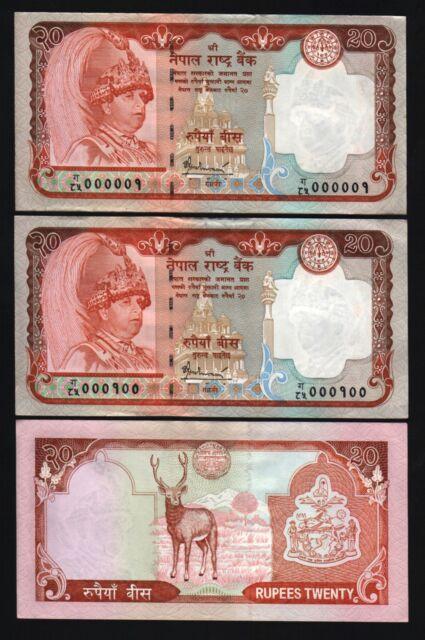 NEPAL 20 RUPEES P55 2005 LOW # 000001-100 KING DEER UNC CURRENCY MONEY *BUNDLE*