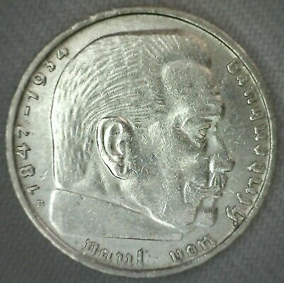1939 A  2 mark German WWII Silver Coin Third Reich Reichsmark 5*