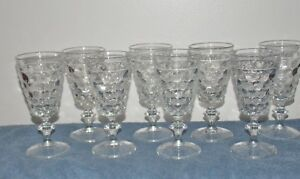 8-Early-Vintage-Westmoreland-Glass-Thousand-Eye-6-oz-Stemmed-Wine-Glass