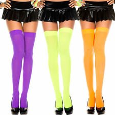 neon bright orange  Music Legs opaque thigh high stockings one size