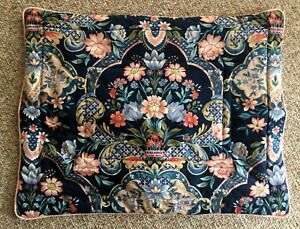 1-Pair-Custom-Shams-BLUE-Floral-ASIAN-Screen-Print-Quilted-ATELIER-1988-19-x-26