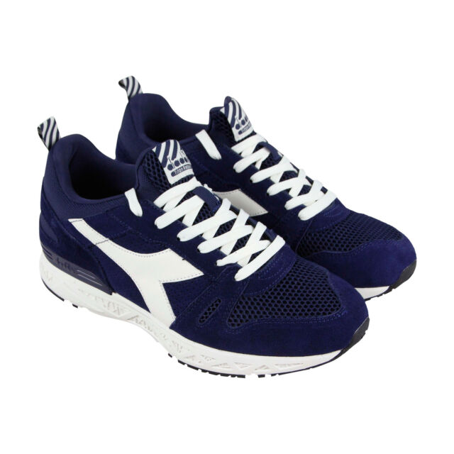 457b14cf4f Diadora Titan Reborn Barra Mens Blue Suede Athletic Lace Up Running Shoes