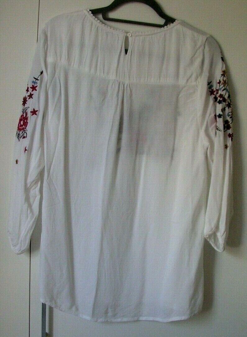 ANANYA Schlupf-Bluse Tunika weiß mit Stickerei 2Xl Kleiner wie Gr. M