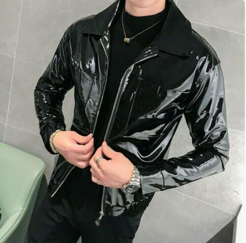 Mens Jackets Shiny Patent leather Motorcycle Outwear Glossy Leisure Coats Biker