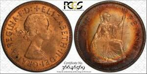 1964-GREAT-BRITAIN-1-PENNY-BU-PCGS-MS64RB-COLOR-TONED-ONLY-2-GRADED-HIGHER