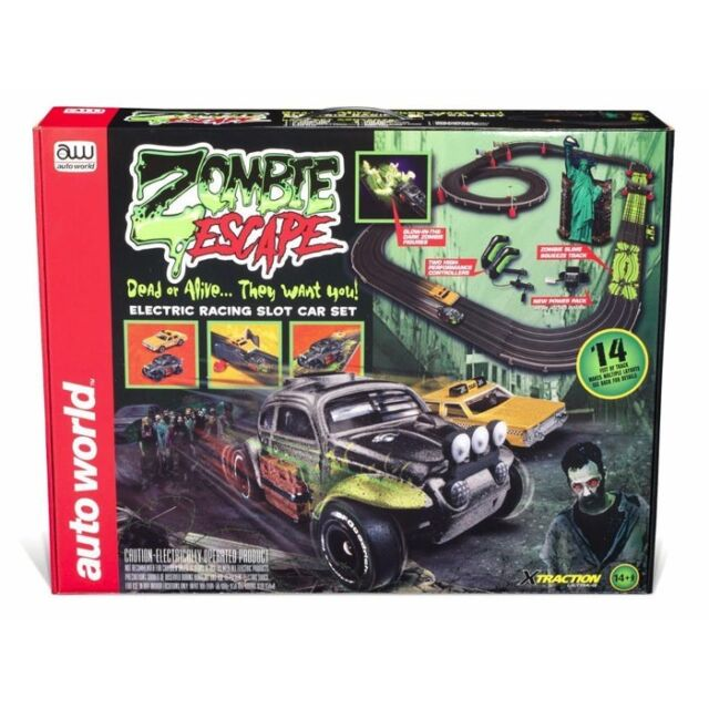 Auto World 14 Foot Zombie Escape X Traction Ho Slot Car Racing Set