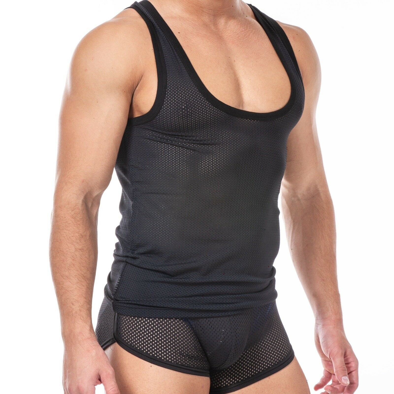 Almost Gone  SQUEEZE.DOG Tank Top Gym Plunging Shaping Mesh Jersey Muscle Tank