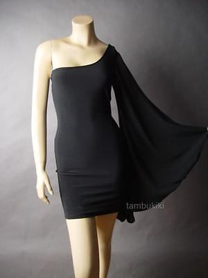 Black Avant Garde Kimono Style Bell Sleeve Cocktail Evening 35 mv Dress S M L