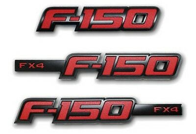 FORD F150 F-150 2012 FX4 RED APPEARANCE BADGE EMBLEM KIT 3 PIECE OEM