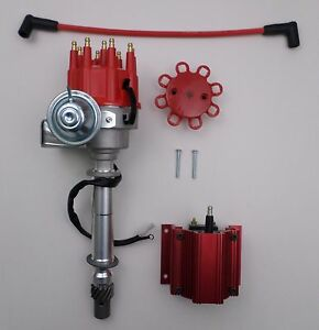 details about chevy small big block ready to run red small cap hei distributor 50k volt coil